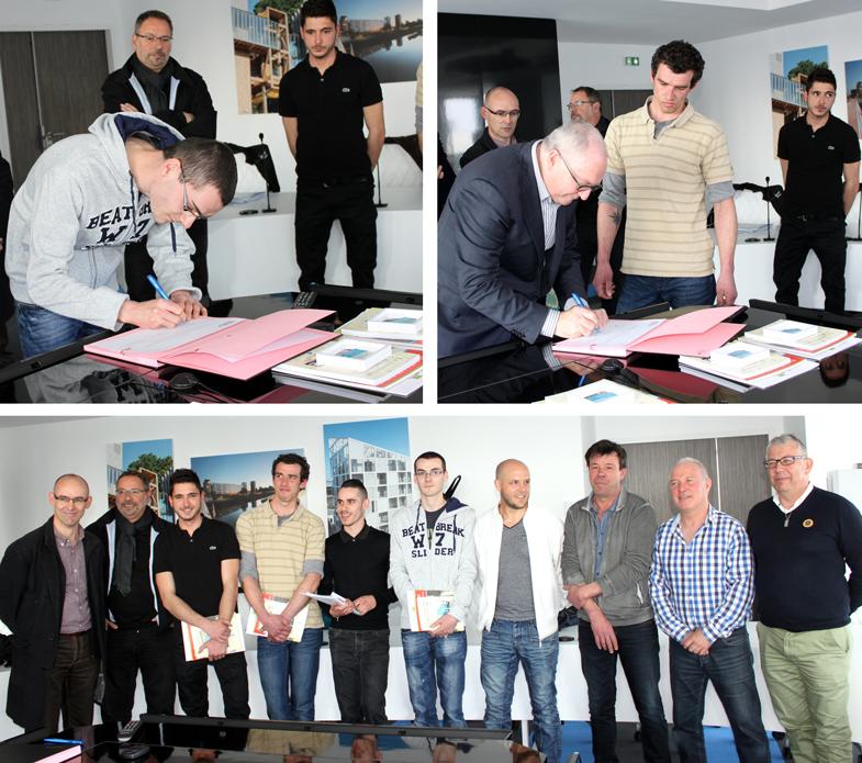 Mercredi 23 mars 2016 - 5 collaborateurs en emploi d'avenir signent leur CDI à NMH